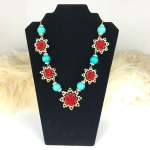 Anthro Aqua & Red Polished Buds Statement Necklace